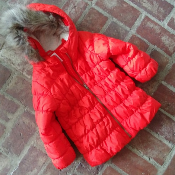 Old Navy Other - NWOT Orange Puffer Coat with Serpa Lined Hood